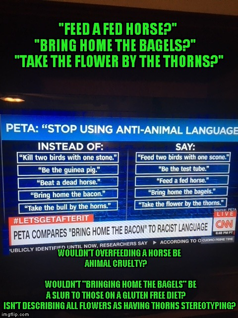 "PETA Is Grasping At Straws, Oops, Please Forgive My Offensive Language.. | ""FEED A FED HORSE?""  ""BRING HOME THE BAGELS?""     ""TAKE THE FLOWER BY THE THORNS?"" WOULDN'T OVERFEEDING A HORSE BE ANIMAL CRUELTY?           