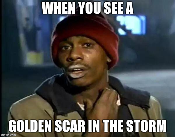 Y'all Got Any More Of That Meme | WHEN YOU SEE A GOLDEN SCAR IN THE STORM | image tagged in memes,y'all got any more of that | made w/ Imgflip meme maker