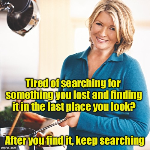 Martha Stewart Problems  | Tired of searching for something you lost and finding it in the last place you look? After you find it, keep searching | image tagged in martha stewart problems | made w/ Imgflip meme maker
