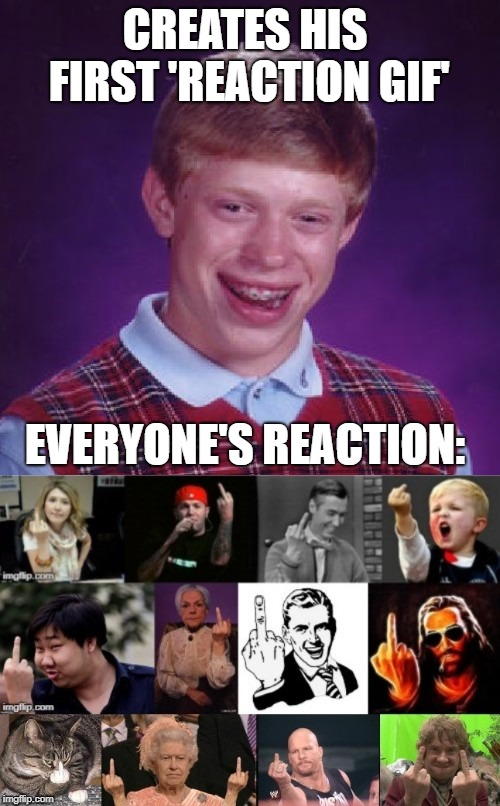 Bad reaction  | CREATES HIS FIRST 'REACTION GIF' EVERYONE'S REACTION: | image tagged in funny memes,memes,bad luck,imgflip humor,meme stream | made w/ Imgflip meme maker