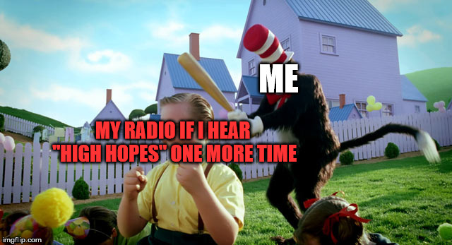 "Cat in the hat with a bat. (______ Colorized) | ME MY RADIO IF I HEAR ""HIGH HOPES"" ONE MORE TIME 