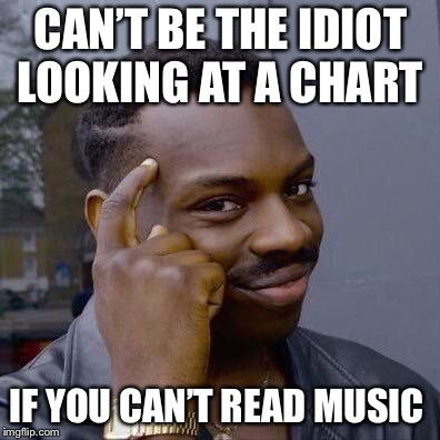 Thinking Black Guy | CAN'T BE THE IDIOT LOOKING AT A CHART IF YOU CAN'T READ MUSIC | image tagged in thinking black guy | made w/ Imgflip meme maker