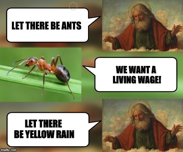 How to deal with unintended consequences | WE WANT A LIVING WAGE! LET THERE BE YELLOW RAIN | image tagged in let there be ants,funny,funny memes | made w/ Imgflip meme maker