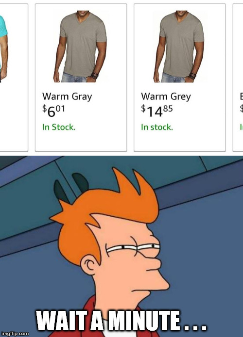 That's how they get you | WAIT A MINUTE . . . | image tagged in memes,futurama fry,grey,gray,price,online shopping | made w/ Imgflip meme maker