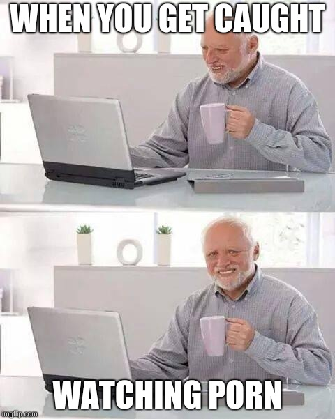 Hide the Pain Harold Meme | WHEN YOU GET CAUGHT WATCHING PORN | image tagged in memes,hide the pain harold | made w/ Imgflip meme maker