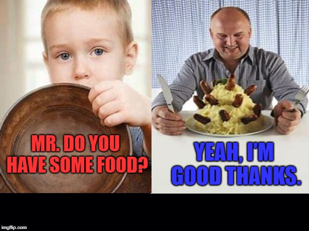 This meme's kind of funny, but also, sadly true. Let's help, donate what you can, when you can. | MR. DO YOU HAVE SOME FOOD? YEAH, I'M GOOD THANKS. | image tagged in funny memes,hunger,christmas,help,poor | made w/ Imgflip meme maker