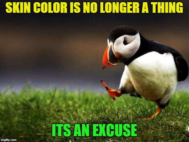 I care little for racism, so stop riling it up world | SKIN COLOR IS NO LONGER A THING ITS AN EXCUSE | image tagged in memes,unpopular opinion puffin | made w/ Imgflip meme maker