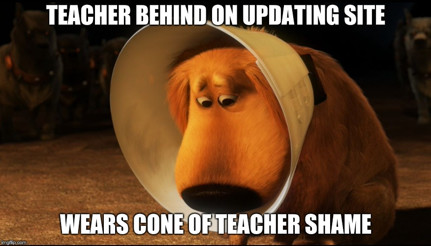 Doug from Up - Cone of Shame | TEACHER BEHIND ON UPDATING SITE WEARS CONE OF TEACHER SHAME | image tagged in doug from up - cone of shame | made w/ Imgflip meme maker
