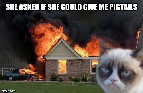 Burn Kitty Meme | SHE ASKED IF SHE COULD GIVE ME PIGTAILS | image tagged in memes,burn kitty,grumpy cat | made w/ Imgflip meme maker