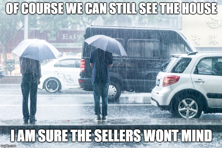 OF COURSE WE CAN STILL SEE THE HOUSE I AM SURE THE SELLERS WONT MIND | image tagged in rainy day | made w/ Imgflip meme maker