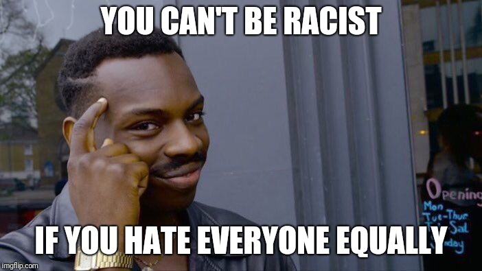 Roll Safe Think About It Meme | YOU CAN'T BE RACIST IF YOU HATE EVERYONE EQUALLY | image tagged in memes,roll safe think about it | made w/ Imgflip meme maker
