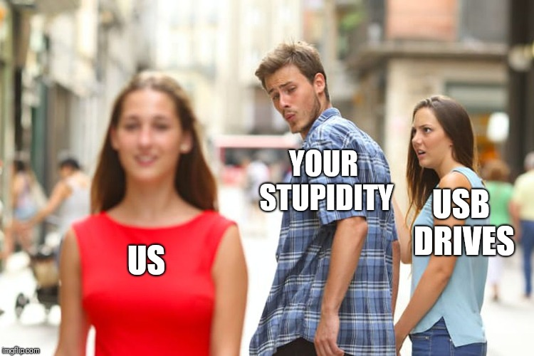 Distracted Boyfriend Meme | US YOUR STUPIDITY USB DRIVES | image tagged in memes,distracted boyfriend | made w/ Imgflip meme maker