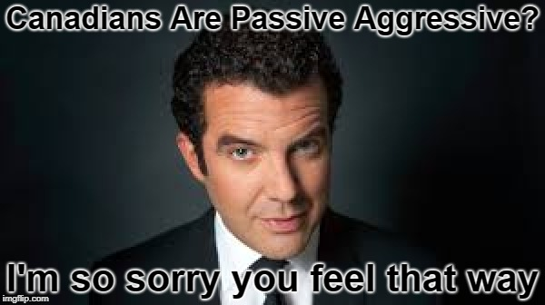 I, ShawarmaHead, am campaigning to make this an official meme template called 'The Passive Aggressive Canadian' | Canadians Are Passive Aggressive? I'm so sorry you feel that way | image tagged in passive aggressive,canadian | made w/ Imgflip meme maker