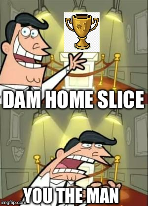 This Is Where I'd Put My Trophy If I Had One Meme | DAM HOME SLICE YOU THE MAN | image tagged in memes,this is where i'd put my trophy if i had one | made w/ Imgflip meme maker