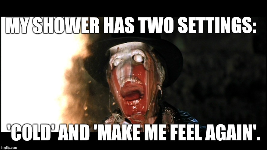 Indiana Jones Face Melt | MY SHOWER HAS TWO SETTINGS: 'COLD' AND 'MAKE ME FEEL AGAIN'. | image tagged in indiana jones face melt | made w/ Imgflip meme maker