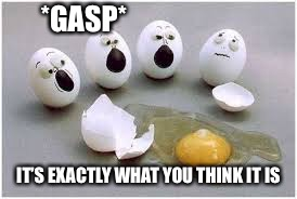 *GASP*; IT'S EXACTLY WHAT YOU THINK IT IS | image tagged in egg,death | made w/ Imgflip meme maker