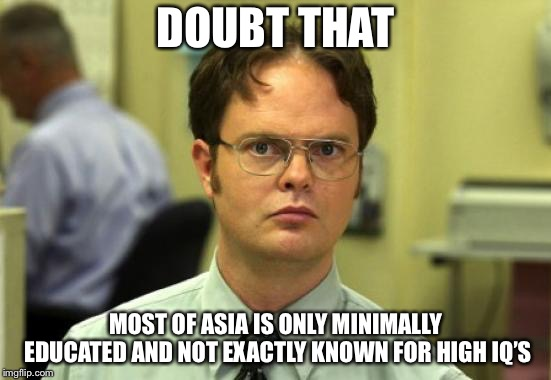 Dwight Schrute Meme | DOUBT THAT MOST OF ASIA IS ONLY MINIMALLY EDUCATED AND NOT EXACTLY KNOWN FOR HIGH IQ'S | image tagged in memes,dwight schrute | made w/ Imgflip meme maker