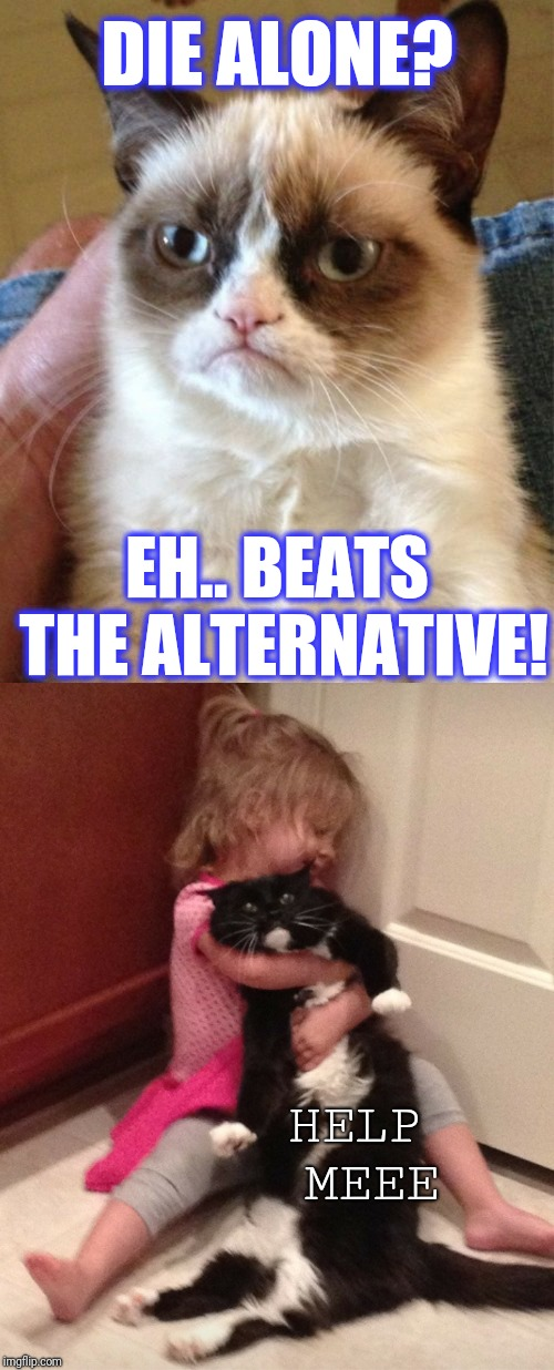 DIE ALONE? EH.. BEATS THE ALTERNATIVE! HELP MEEE | image tagged in memes,grumpy cat,scumbag | made w/ Imgflip meme maker