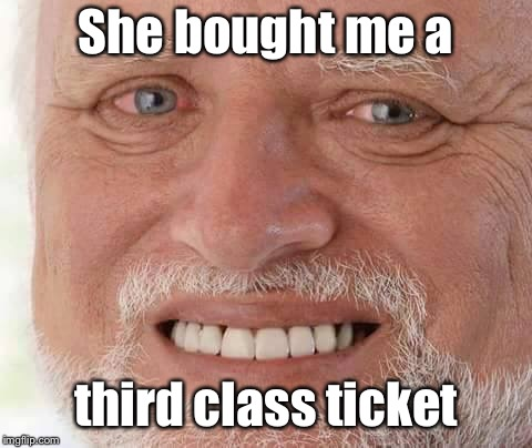 harold smiling | She bought me a third class ticket | image tagged in harold smiling | made w/ Imgflip meme maker