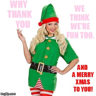 WHY THANK     YOU AND A MERRY XMAS TO YOU! WE THINK  WE'RE FUN TOO. | made w/ Imgflip meme maker