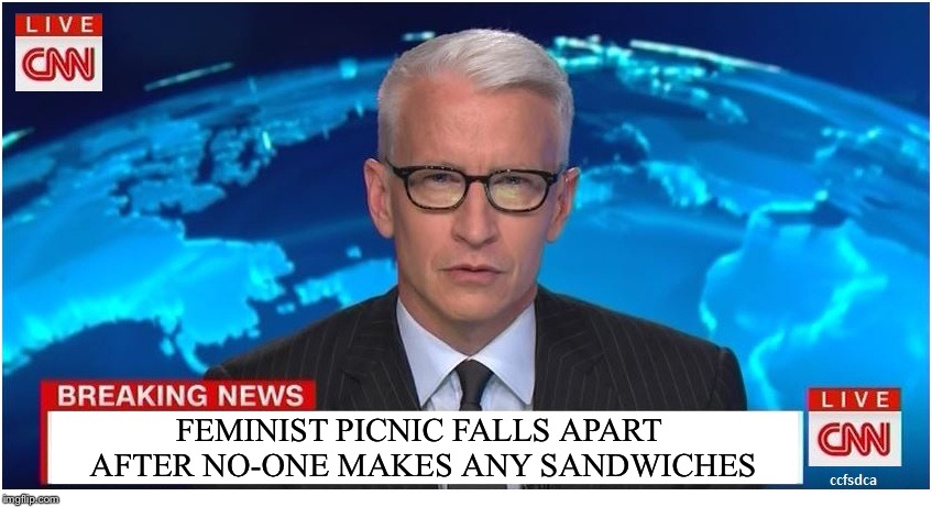 CNN Breaking News Anderson Cooper | FEMINIST PICNIC FALLS APART AFTER NO-ONE MAKES ANY SANDWICHES | image tagged in cnn breaking news anderson cooper | made w/ Imgflip meme maker
