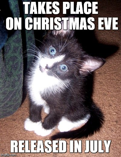 TAKES PLACE ON CHRISTMAS EVE RELEASED IN JULY | image tagged in confused cat | made w/ Imgflip meme maker