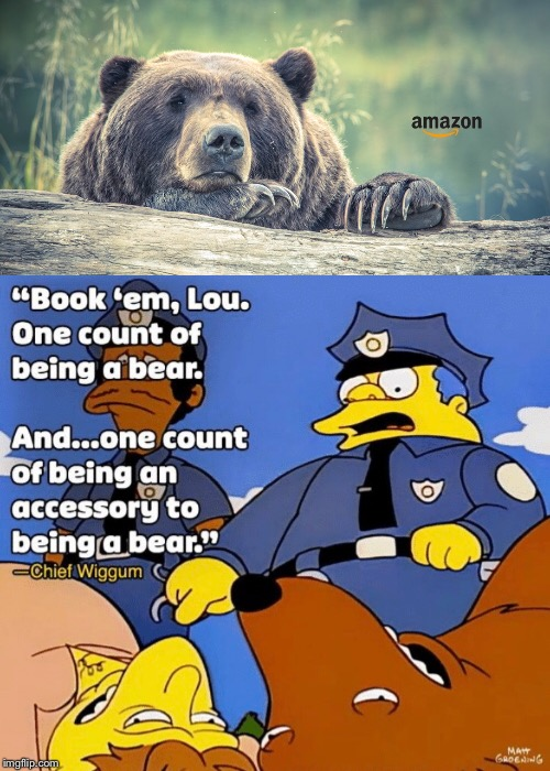 Bear arrest  | image tagged in bear,amazon,news,funny,the simpsons,simpsons | made w/ Imgflip meme maker