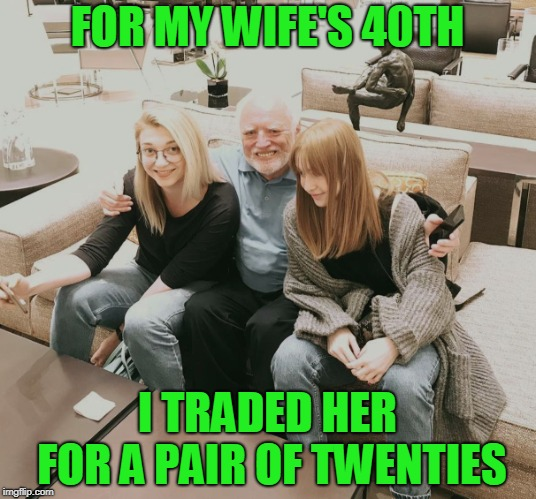 My wife hates this joke | FOR MY WIFE'S 40TH I TRADED HER FOR A PAIR OF TWENTIES | image tagged in harold | made w/ Imgflip meme maker