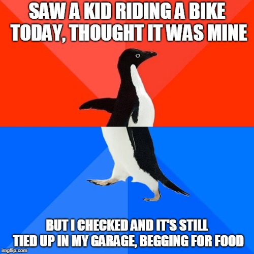 I'm going to bad places for this... | SAW A KID RIDING A BIKE TODAY, THOUGHT IT WAS MINE BUT I CHECKED AND IT'S STILL TIED UP IN MY GARAGE, BEGGING FOR FOOD | image tagged in memes,socially awesome awkward penguin,offensive,funny,im a bad person | made w/ Imgflip meme maker