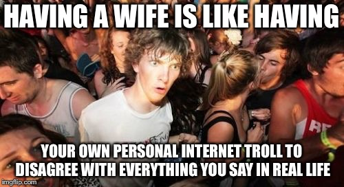 Sudden Clarity Clarence Meme | HAVING A WIFE IS LIKE HAVING YOUR OWN PERSONAL INTERNET TROLL TO DISAGREE WITH EVERYTHING YOU SAY IN REAL LIFE | image tagged in memes,sudden clarity clarence | made w/ Imgflip meme maker