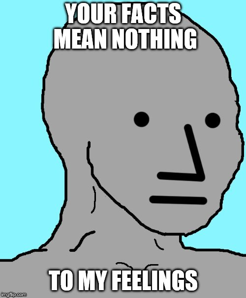 NPC | YOUR FACTS MEAN NOTHING TO MY FEELINGS | image tagged in memes,npc | made w/ Imgflip meme maker