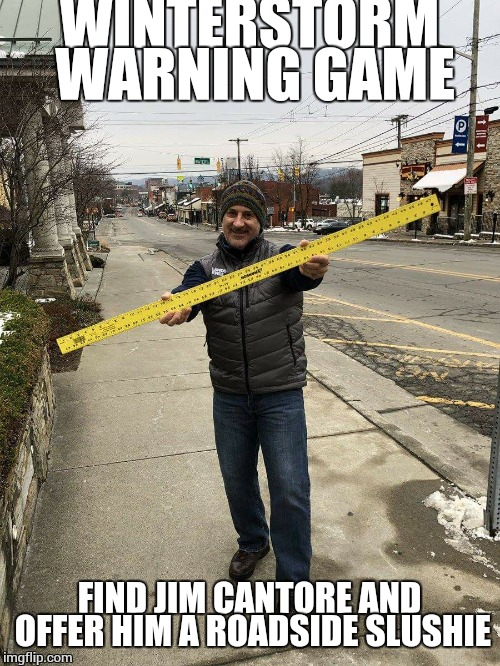 Diego, you Don't scare us  | WINTERSTORM WARNING GAME FIND JIM CANTORE AND OFFER HIM A ROADSIDE SLUSHIE | image tagged in cold weather,snow,winter storm,diego | made w/ Imgflip meme maker