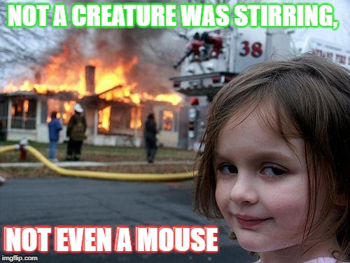 NOT A CREATURE WAS STIRRING, NOT EVEN A MOUSE | image tagged in merry christmas | made w/ Imgflip meme maker