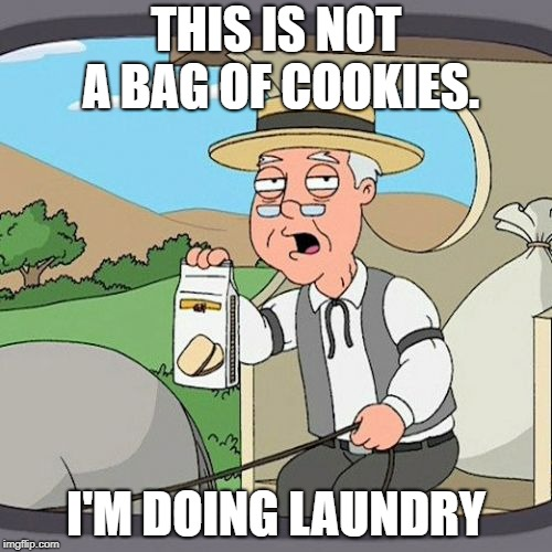 Pepperidge Farm Remembers | THIS IS NOT A BAG OF COOKIES. I'M DOING LAUNDRY | image tagged in memes,pepperidge farm remembers | made w/ Imgflip meme maker