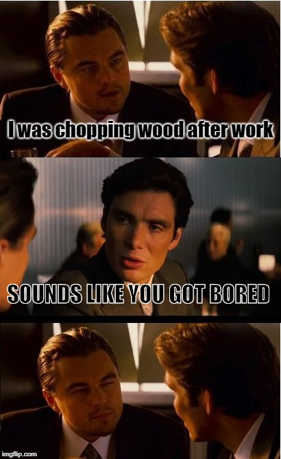 Inception | I was chopping wood after work SOUNDS LIKE YOU GOT BORED | image tagged in memes,inception | made w/ Imgflip meme maker