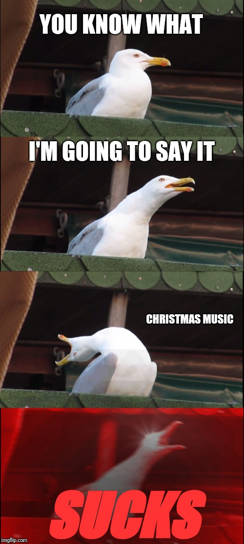 STOP PLAYING THIS SYUFF IN JULY | YOU KNOW WHAT I'M GOING TO SAY IT CHRISTMAS MUSIC SUCKS | image tagged in memes,inhaling seagull,christmas,christmas music | made w/ Imgflip meme maker