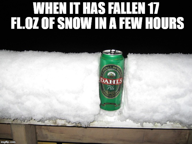 Snow beer | WHEN IT HAS FALLEN 17 FL.OZ OF SNOW IN A FEW HOURS | image tagged in snow beer | made w/ Imgflip meme maker