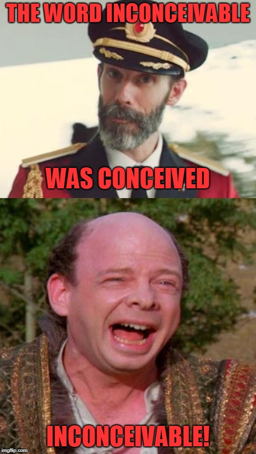 I keep using this word, I don't think it means what I think it does | THE WORD INCONCEIVABLE INCONCEIVABLE! WAS CONCEIVED | image tagged in inconceivable vizzini,captain obvious | made w/ Imgflip meme maker