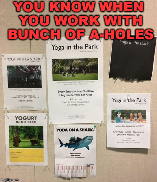 When co-workers meme your fliers. |  YOU KNOW WHEN YOU WORK WITH BUNCH OF A-HOLES | image tagged in memes,coworkers,work,creative,park | made w/ Imgflip meme maker
