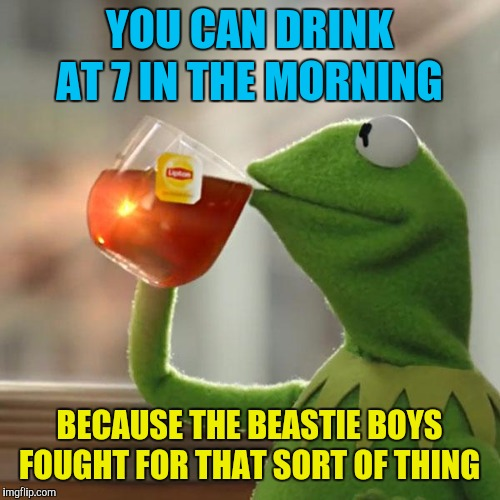 The 34th Ammendment to the Constitution  | YOU CAN DRINK AT 7 IN THE MORNING BECAUSE THE BEASTIE BOYS FOUGHT FOR THAT SORT OF THING | image tagged in memes,but thats none of my business,kermit the frog,beastie boys,fight for your right,party | made w/ Imgflip meme maker