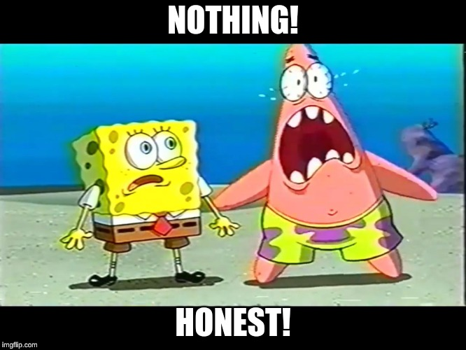 Patrick and spongebob scared | NOTHING! HONEST! | image tagged in patrick and spongebob scared | made w/ Imgflip meme maker