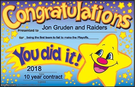 Jon Gruden and Raiders get a gold star in 2018...for sucking | Jon Gruden and Raiders being the first team to fail to make the Playoffs. 2018 10 year contract | image tagged in memes,happy star congratulations,jon gruden,raiders,suck,nfl football | made w/ Imgflip meme maker