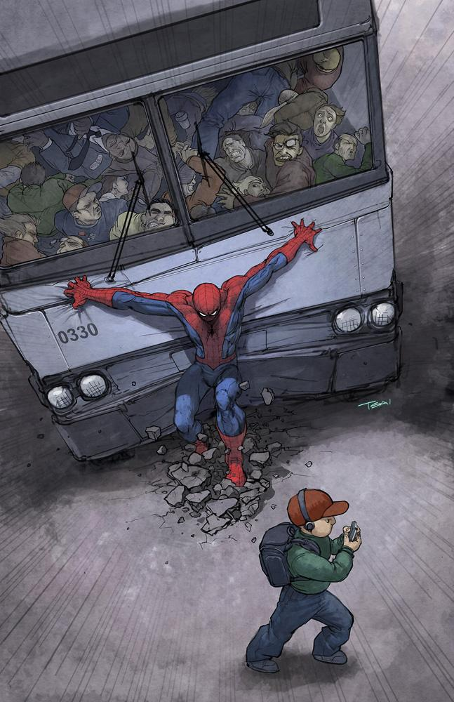 High Quality Spiderman Bus Blank Meme Template