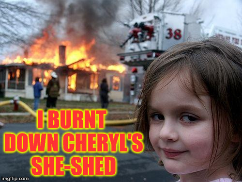 Disaster Girl |  I BURNT DOWN CHERYL'S SHE-SHED | image tagged in memes,disaster girl,she,state farm | made w/ Imgflip meme maker