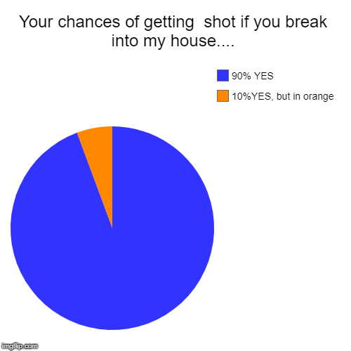 Your chances of getting  shot if you break into my house.... | 10%YES, but in orange, 90% YES | image tagged in funny,pie charts | made w/ Imgflip chart maker