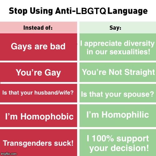 Stop Using Anti-LBGTQ Language. | LBGTQ Gays are bad You're Gay I appreciate diversity in our sexualities! Is that your husband/wife? Is that your spouse? I 100% support your | image tagged in stop using anti-animal language,memes,gay pride,gay,transgender | made w/ Imgflip meme maker