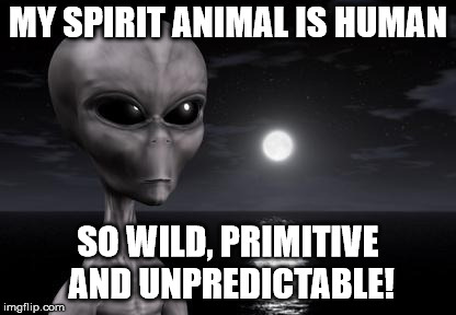 human as spirit animal | MY SPIRIT ANIMAL IS HUMAN SO WILD, PRIMITIVE AND UNPREDICTABLE! | image tagged in why aliens won't talk to us,spirit animal,humans,alien | made w/ Imgflip meme maker