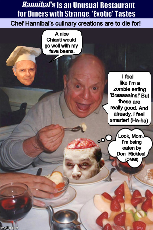 Hannibal's Is an Unusual Restaurant for Diners with Strange, 'Exotic' Tastes | Hannibal's | image tagged in hannibal lecter,silence of the lambs,restaurant,murder,funny,memes | made w/ Imgflip meme maker