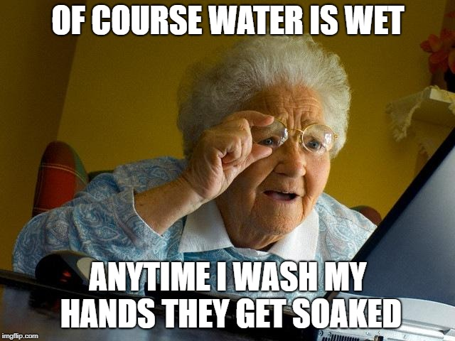Grandma Finds The Internet | OF COURSE WATER IS WET ANYTIME I WASH MY HANDS THEY GET SOAKED | image tagged in memes,grandma finds the internet | made w/ Imgflip meme maker