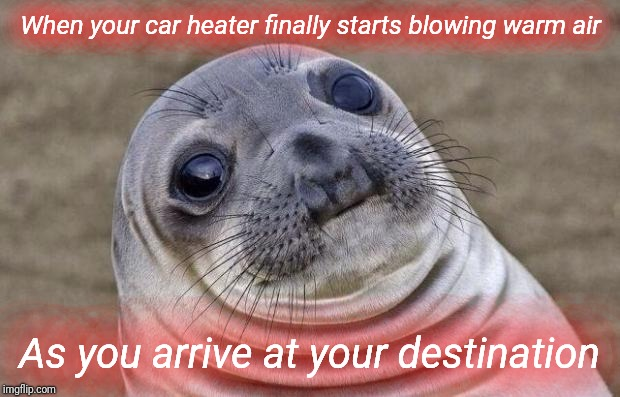 Darn, that heater! | When your car heater finally starts blowing warm air As you arrive at your destination | image tagged in memes,awkward moment sealion,justjeff,blizzard,cold,cold weather | made w/ Imgflip meme maker